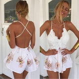 Lace Up Sexy Deep V-Neck Floral Print Backless Flounced Romper Jumpsuit