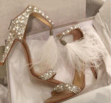 Diamonds Tassels Peep Toe Fashion High Heels Shoes