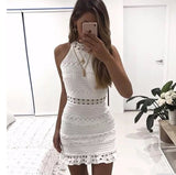 Lace Hollow Zipper High Neck Bodycon Dress