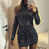 Fashion Diamond Stand Collar Long Sleeve Dress
