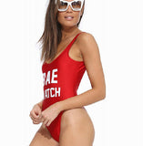 Sexy V-Neck Letters Print One Piece Swimwear Bikini Swimsuit