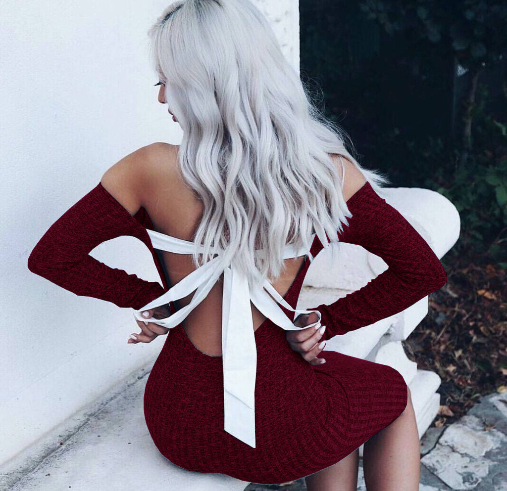 Long Sleeves Off Shoulder Tight Mini Dress