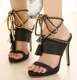 Leather Peep Toe Women Fashion Slingback High Heels Shoes
