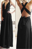 Cross Deep V Halter Maxi Dress