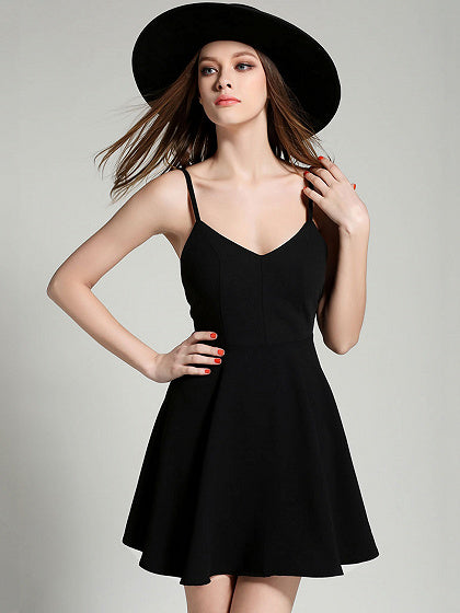 Women V-neck Wing Open Back Skater Dress