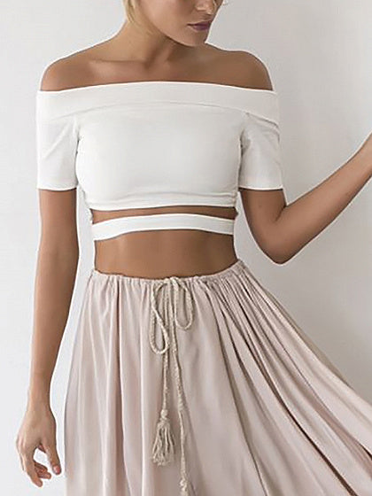 Women Off Shoulder Open Belly Crop Top
