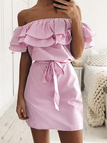Women Striped Off Shoulder Layered Ruffle Tie Waist Dress
