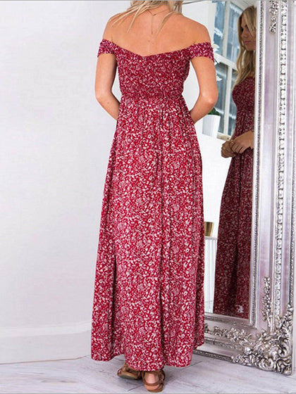 Women Off Shoulder Split Side Floral Maxi Dress