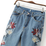 Embroidery Flower Fashion Denim Pants Trousers Jeans