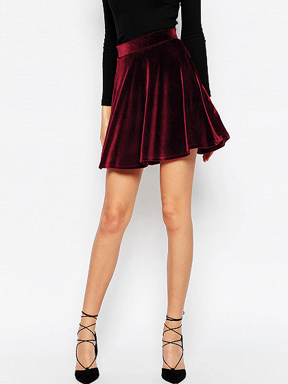 Women High Waist Velvet Skater Skirt