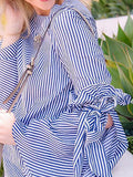 Women Stripe Bow Tie Split Bell Sleeve Top