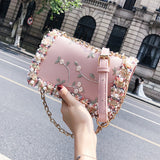 Flower Pearl Women Fashion Handbag Crossbody Shoulder Bag