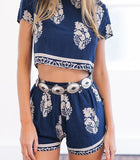 Fashion Print Short Sleeve Two-Piece