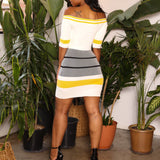 Strapless Stripe Bodycon Fashion Mini Dress