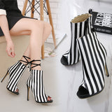 Stripe Zipper Women Fashion Peep Toe High Heels Shoes