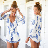 Sexy deep V printing rompers jumpsuit