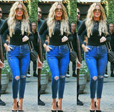 Solid Color Tight Hole Jeans Pants Trousers