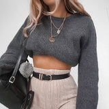 Long Sleeves Knit Cami Crop Top Sweater Pullover