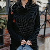 Hollow Knit High Collar Long Sleeve Top Sweater Pullover
