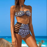 Print High Waist Hollow Out Bikini Swimsuit Swimwear