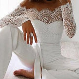 Women Off Shoulder Tie Waist Long Sleeve Lace Jumpsuit