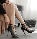 Crisscross Strappy Fashion Women Peep Toe High Heels Shoes