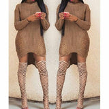 Sexy Irregular Holes Knit Top Sweater Pullover Dress