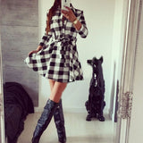Fashion Checkered Button Lapel Dress