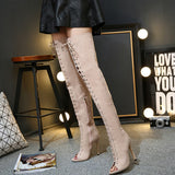 Crisscross Strappy Fashion Women Peep Toe High Boots High Heels Shoes