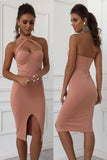 Halter Backless Split Bodycon Dress
