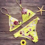 Flower Print Sexy Strap Beach Bikini Set Swimsuit Swimwear