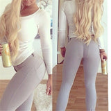 Solid Color Tight Jeans Pants Trousers