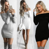 Sexy Strapless Knit Long Sleeve Bodycon Mini Dress