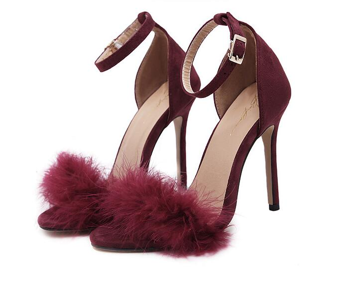 Fur Ankle Strap Fashion Peep Toe High Heels Shoes