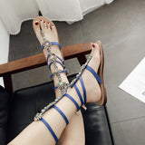 Rhinestone Hollow Fashion Women Sandals Flats Shoes
