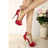 Fashion Buckle Women Peep Toe Platform High Heels Shoes