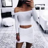 Sexy Fashion Solid Color Strapless Long Sleeve Shirt Top Tee