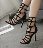 Hollow Buckle Fashion Women Peep Toe Sandals High Heels Shoes