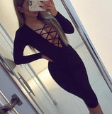 Sexy Hollow Out Crisscross Long Sleeve Tight Mini Dress