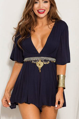 Sexy Short Sleeve V-Neck Strappy Romper Jumpsuit
