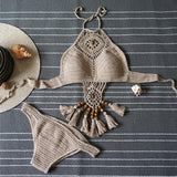 Boho Crochet Tassel Solid Color Bikini Set Swimsuit Swimwear