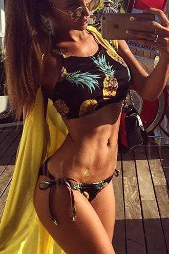 Pineapple Print Sexy Bikini Set Swimsuit Swimwear