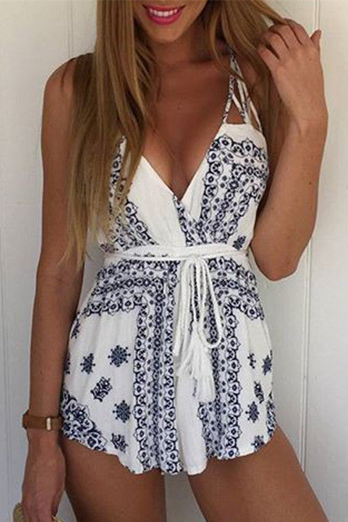 Sexy V-Neck Print Sling Rompers jumpsuit