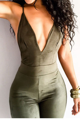 Sexy Backless deep V tight rompers jumpsuit