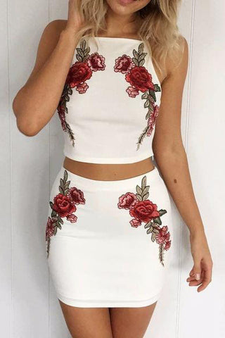 Embroidery Flower Sexy Bodycon Set Two-Piece Mini Dress