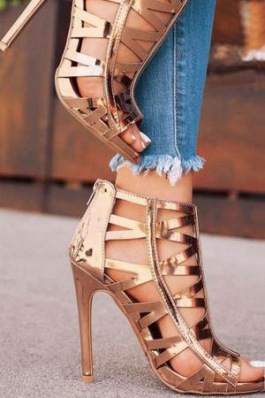 Hollow Zipper Fashion Women Peep Toe High Heels Shoes