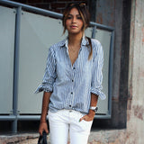 Stripe Lapel Button Fashion Shirt Top Tee
