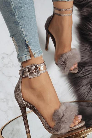 Ankle Strap Snake Print Women Fashion High Heels Shoes