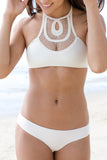 Solid Color Hollow Out Halter Bikini Swimsuit Swimwear