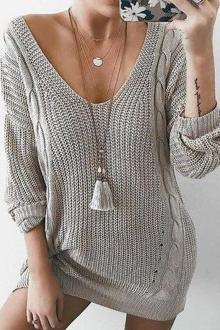 V-Neck Knit Top Sweater Pullover Dress